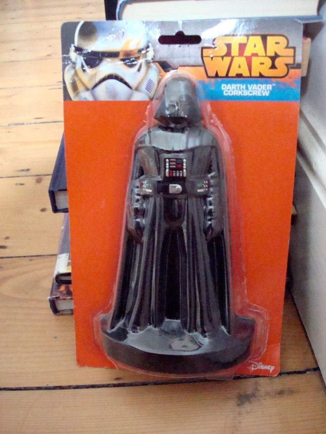 The Darth Vader corkscrew. Not a household god or deity of any kind. Just a Darth Vader corkscrew. Photographic evidence thereof, because no one believes me. A Christmas present, a nice try, a miss is as good as a mile...