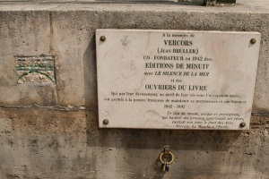 A plaque for, not the  grave, of Vercors (Jean Bruller), author of Borderline, The Imsurgents and Sylva.
